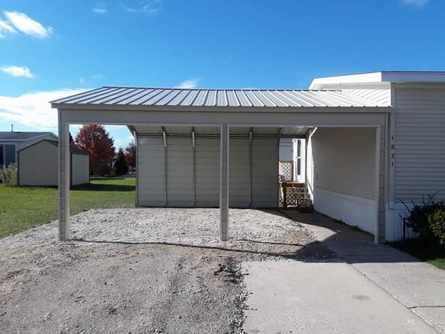 20x20x8 Side Entry Metal Carport in Muskegon, Michigan
