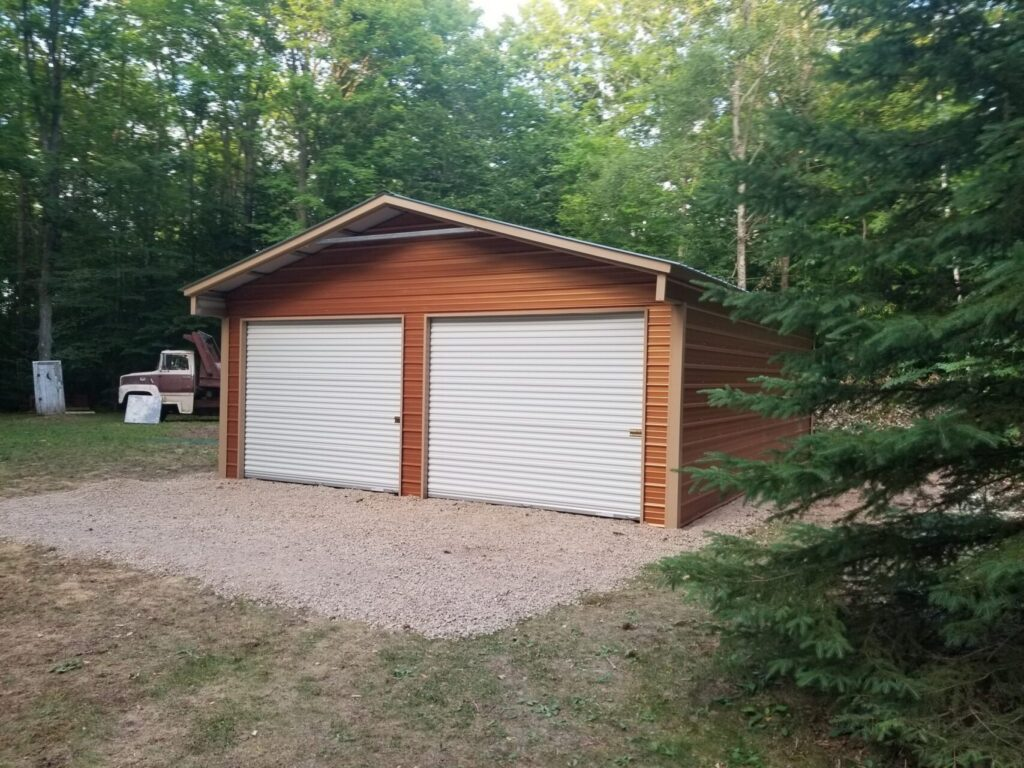 24x30x9 A-Frame Vertical Two Stall Garage