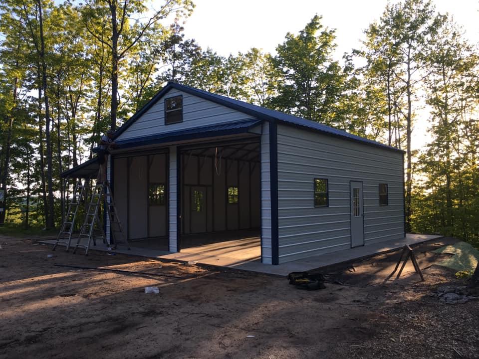 24x30x11 Steel Barn with Lean-To in Oak Creek, WI
