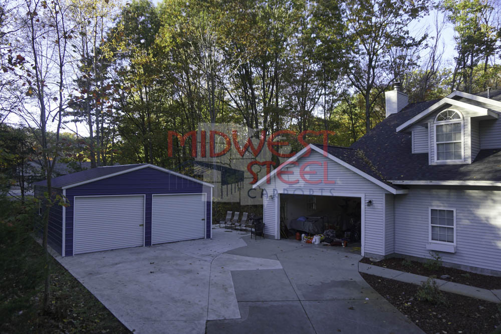 24x26x9 Metal Garage In Muskegon, Michigan