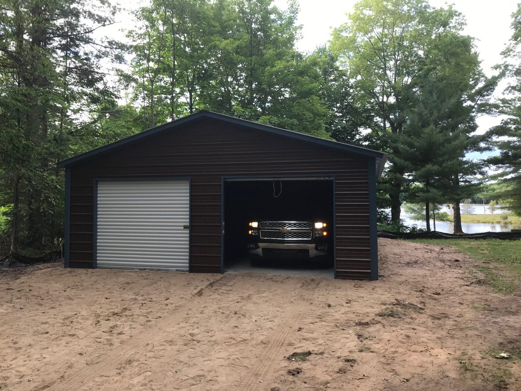 24x35x8 2-Stall Garage in Kennan, WI