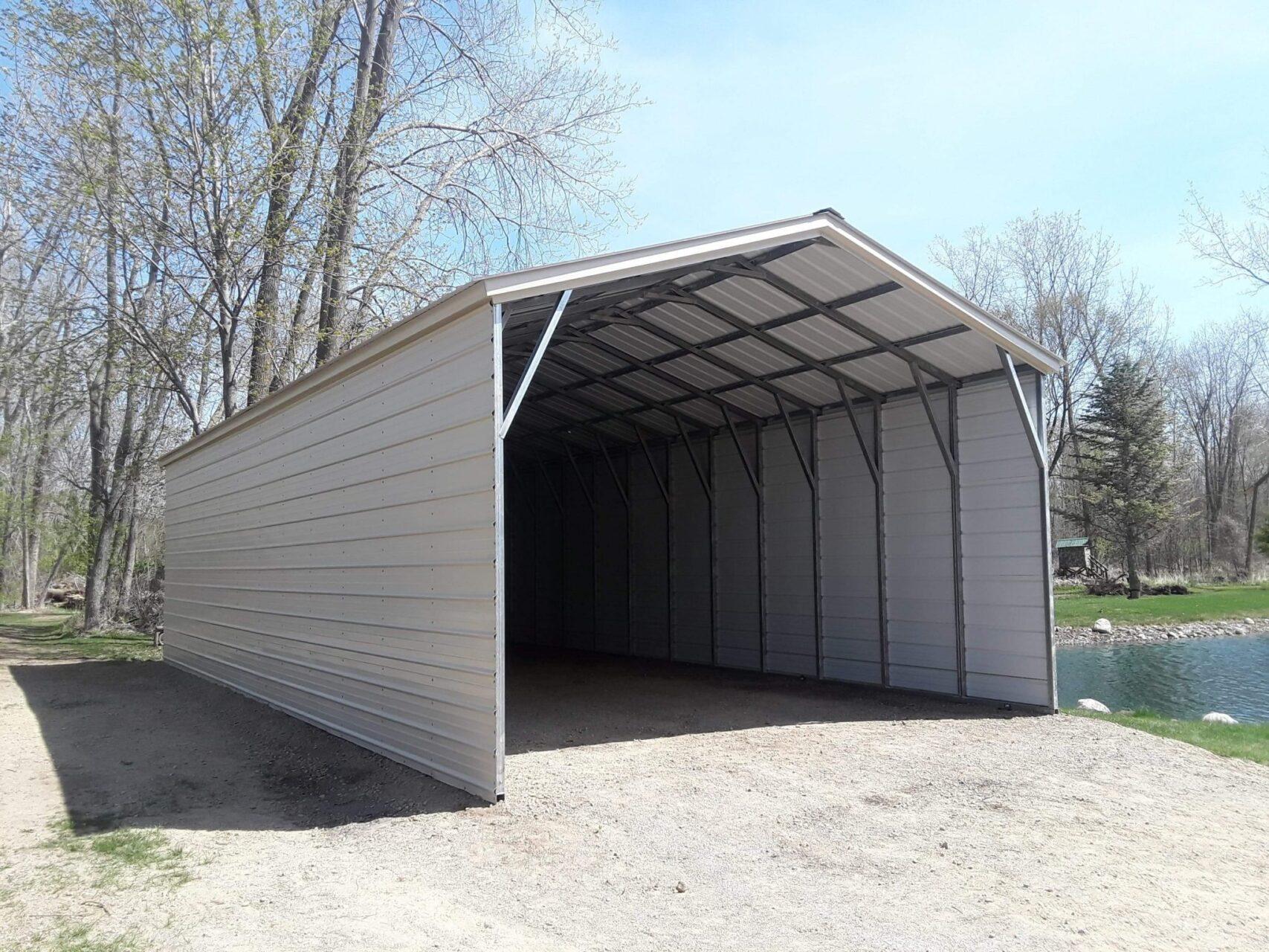 18x40x10 RV Carport with Closed Sides in Sandusky, Michigan