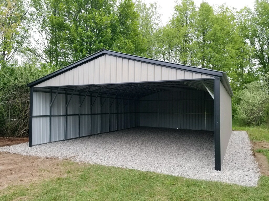 24x30x8 Steel Carport with Open End in Freeland, Michigan
