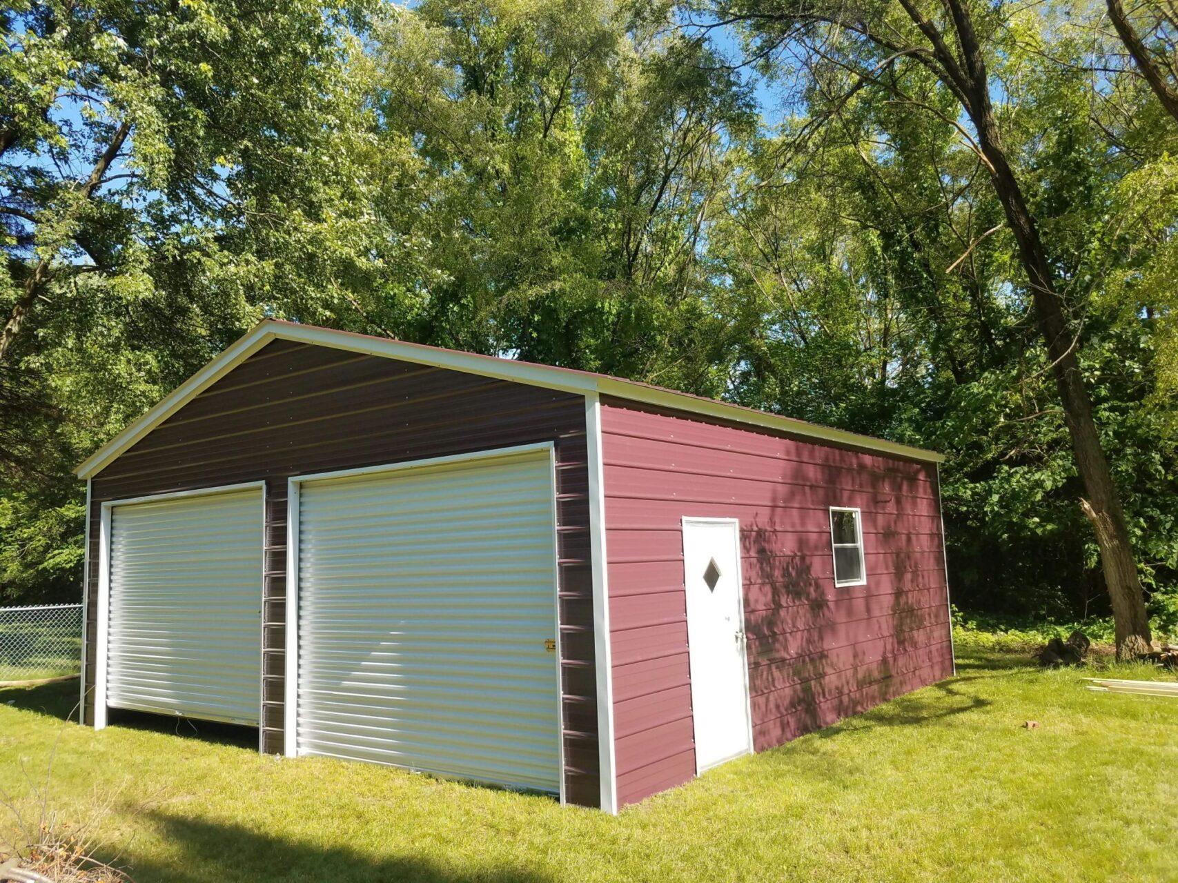 24x25x9 Metal Double Door Garage in Belleville, Michigan