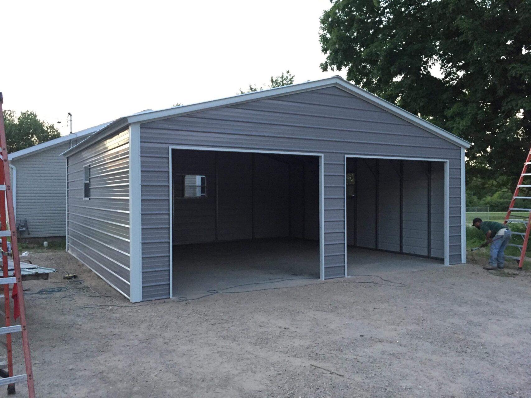 26x25x9 Steel Two Stall Garage in Vassar, Michigan