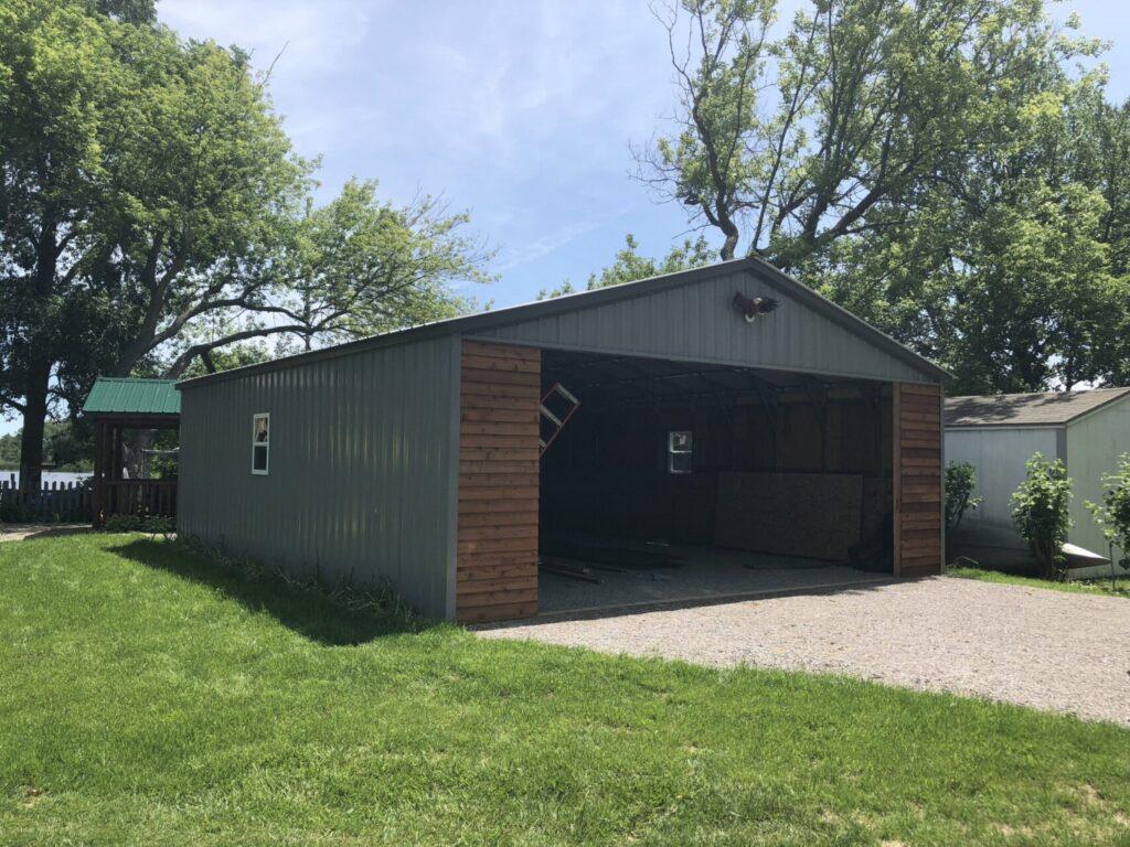 24x30x8 All Vertical Steel Carport in Rose City, Michigan