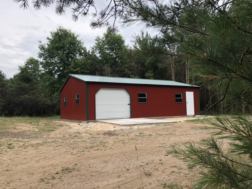 24x35x8 All Vertical Side Drive Metal Garage