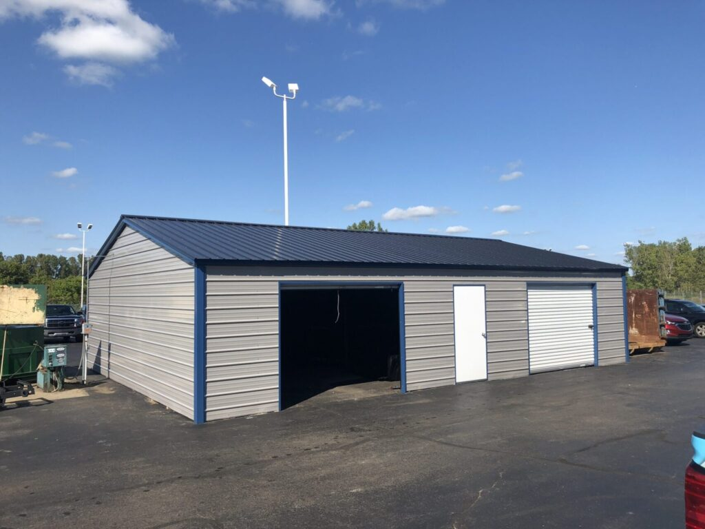 30x40x8 Two Stall Side Drive Metal Garage