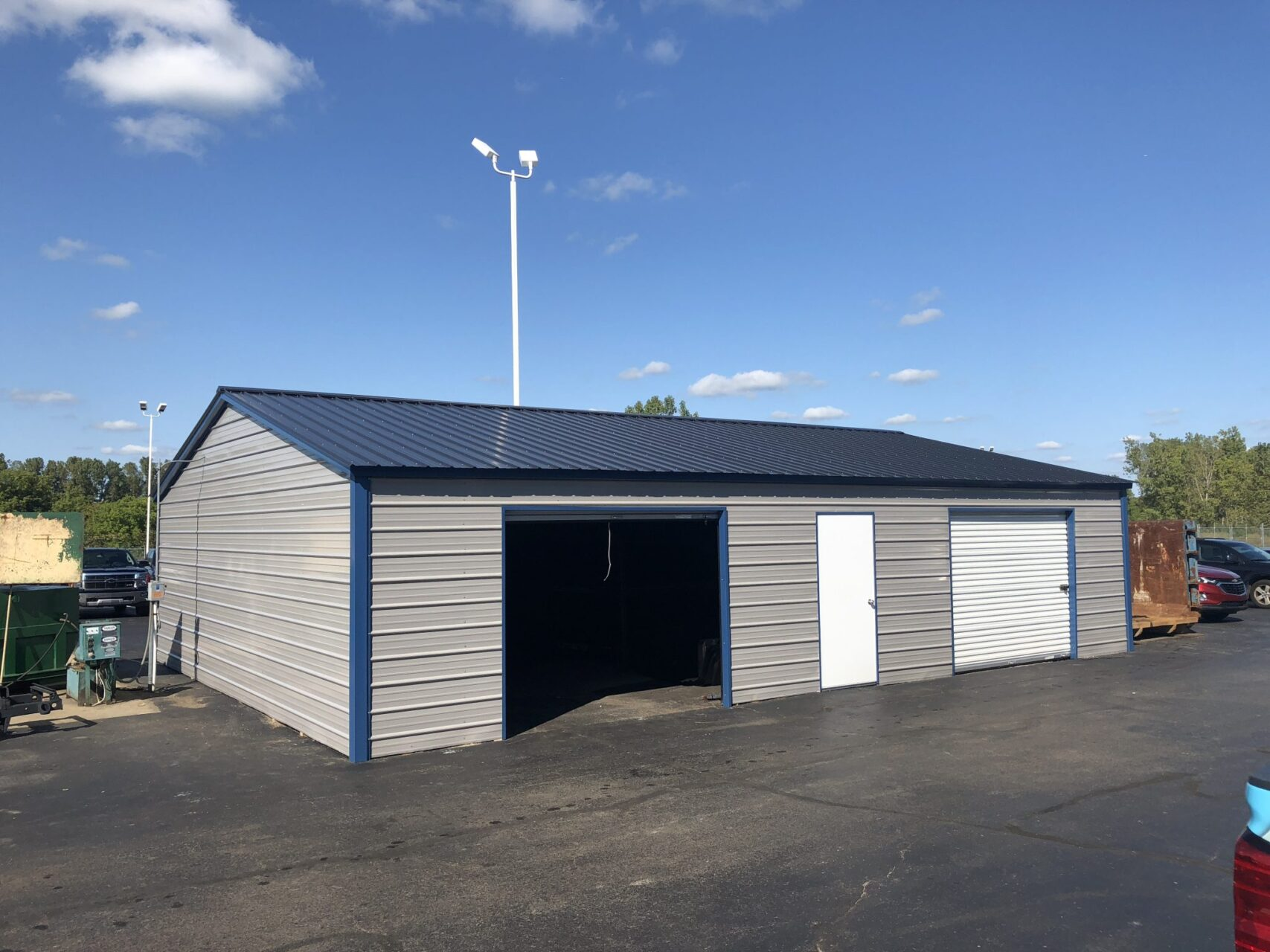 30x40x8 Two Stall Side Drive Metal Garage Midwest Steel