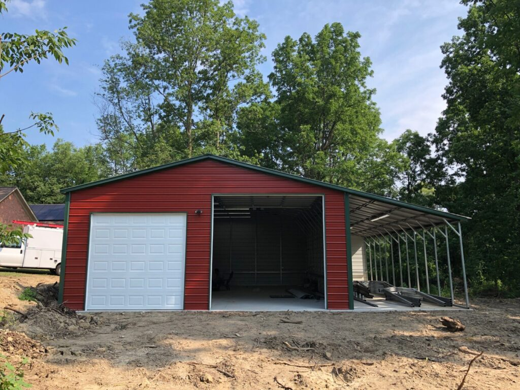 30x40x12 Steel Garage with lean-to in Potter, WI