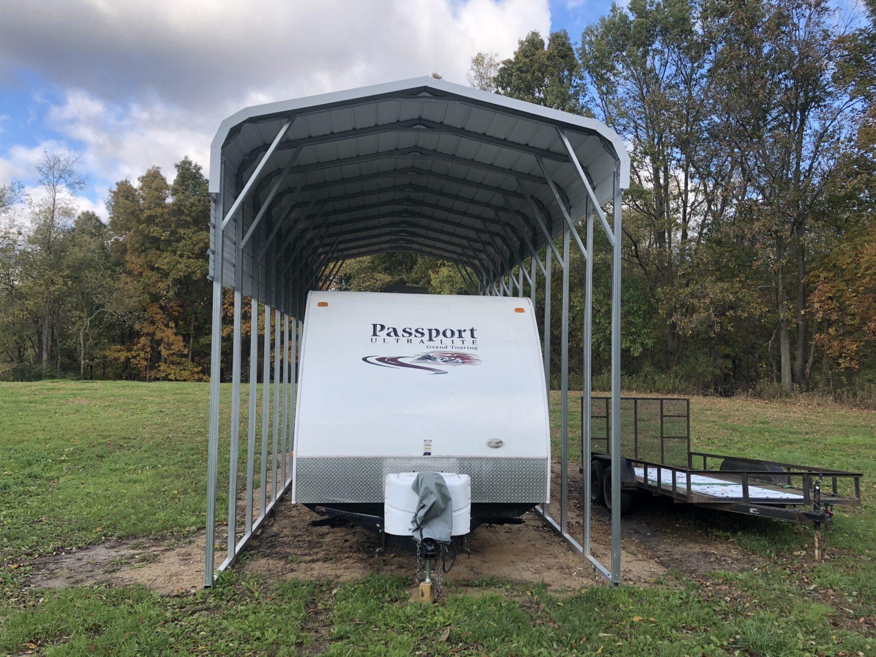 12x35x12 Metal RV Shelter | Midwest Steel Carports