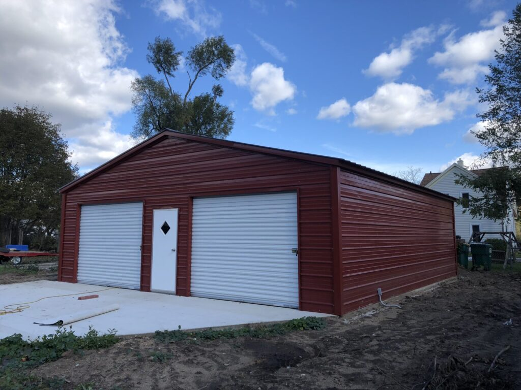28x30x9 Metal Two Stall Garage