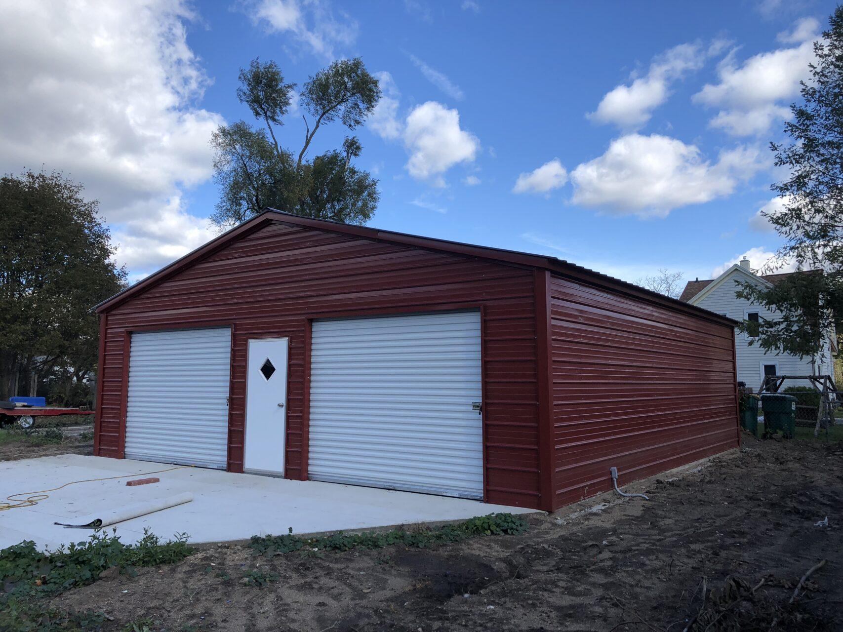 28x30x9 Metal Two Stall Garage