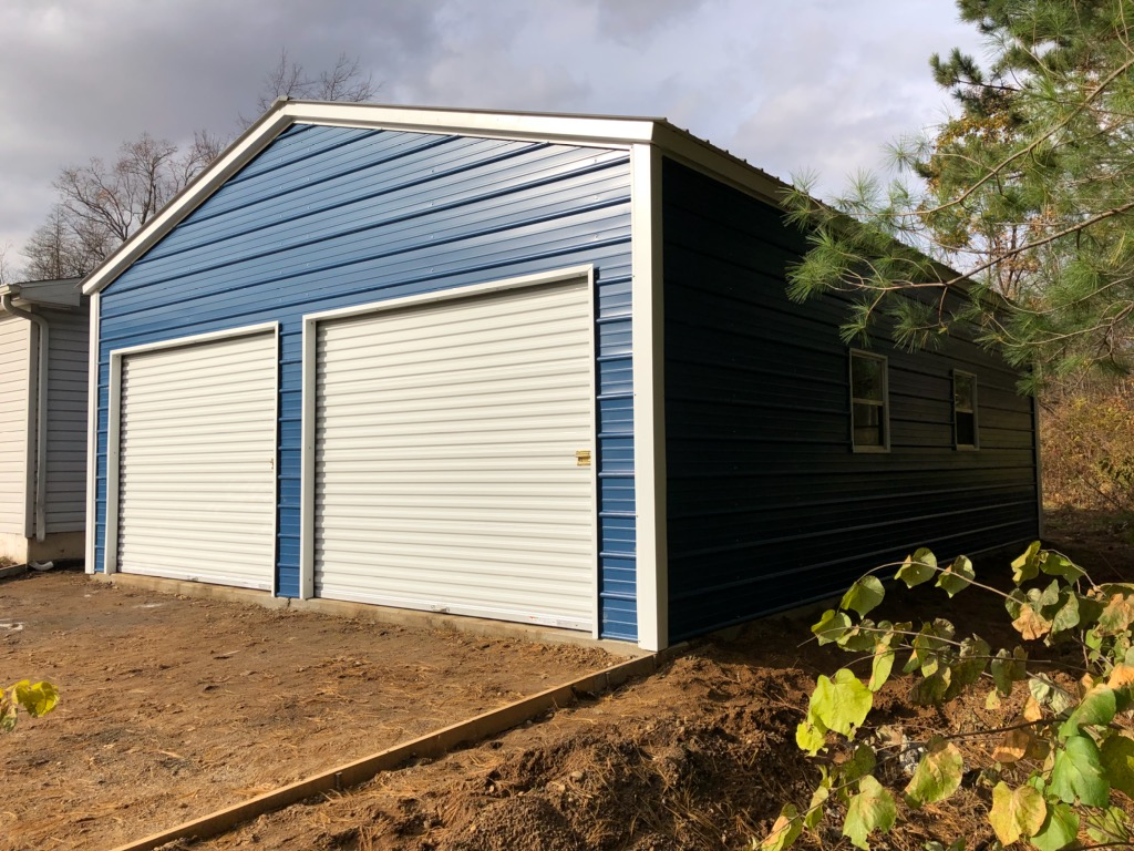 22x25x8 All Metal Two-Stall Garage