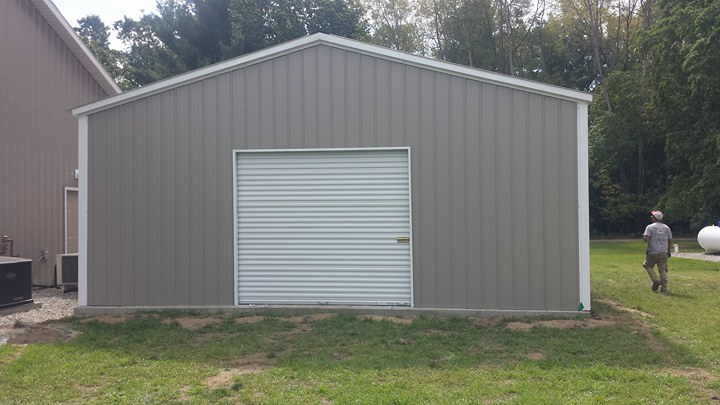 Vertical Metal Garage in Cedar Springs, Michigan