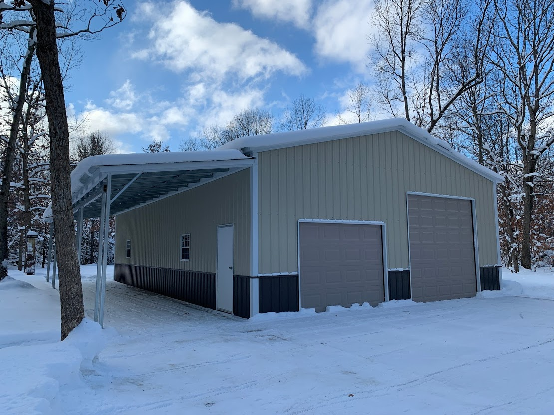 30x50x12 Steel Garage with Lean To in Twin Lake, MI